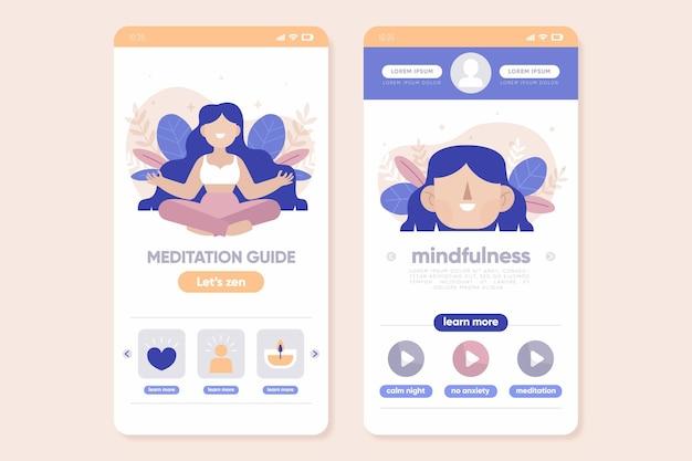 Meditatie app set sjabloon Gratis Vector