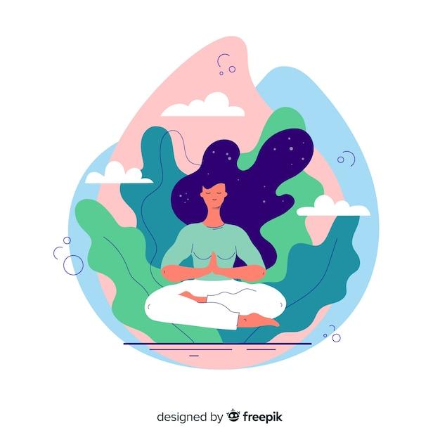 Meditatie bestemmingspagina concept Gratis Vector