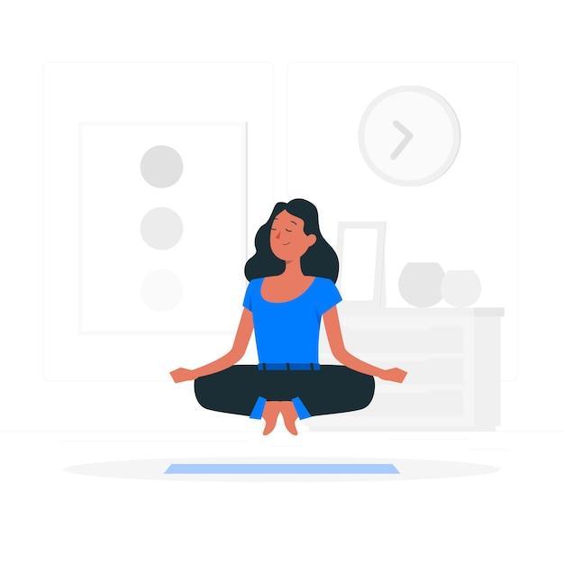 Meditatie concept illustratie Gratis Vector