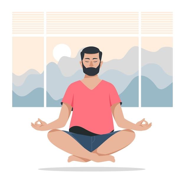 Meditatie concept Gratis Vector