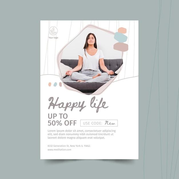 Meditatie en mindfulness flyer-sjabloon Gratis Vector