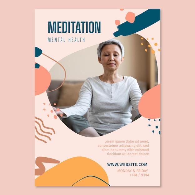 Meditatie en mindfulness poster sjabloon Gratis Vector