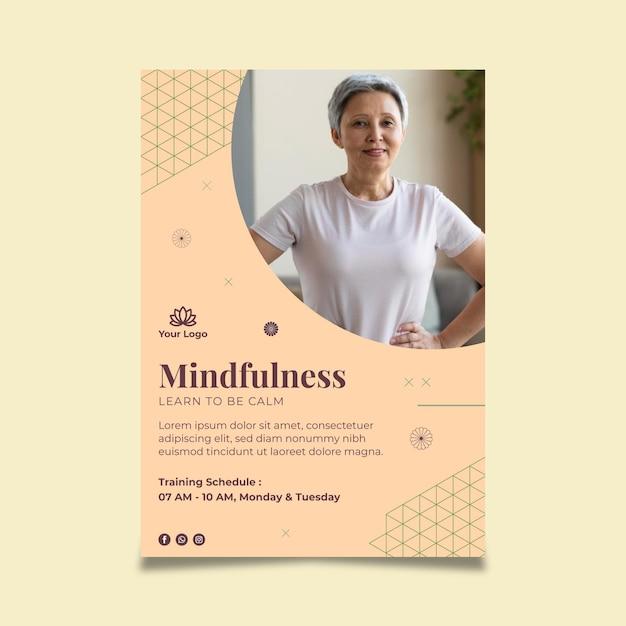 Meditatie en mindfulness poster Gratis Vector