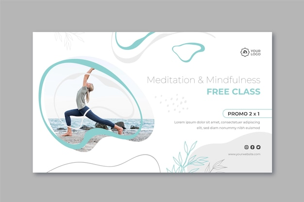 Meditatie en mindfulness-sjabloon voor spandoek Gratis Vector