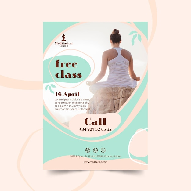 Meditatie flyer sjabloon thema Gratis Vector