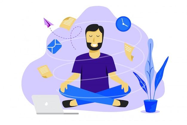 Meditatie man op het werk. bedrijfs werkend ontwerpconcept Premium Vector