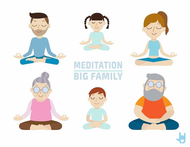 Meditatie. mensen karakter ontwerp. gezondheidszorg concept. Premium Vector