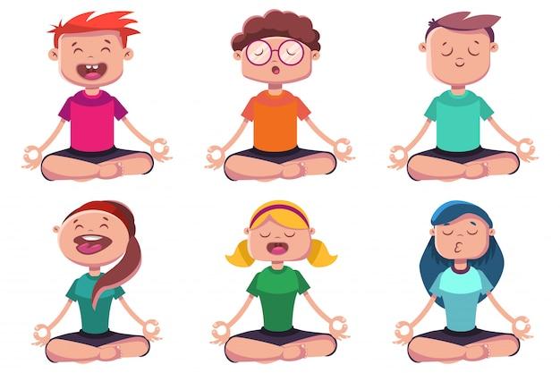 Meditatie van jongeren die zich bezighouden met yoga. vector cartoon tekenset van man en vrouw zitten in lotus houding geïsoleerd Premium Vector