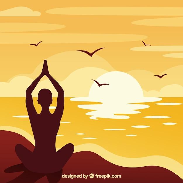 Meditatieconcept met silhouetstijl Gratis Vector
