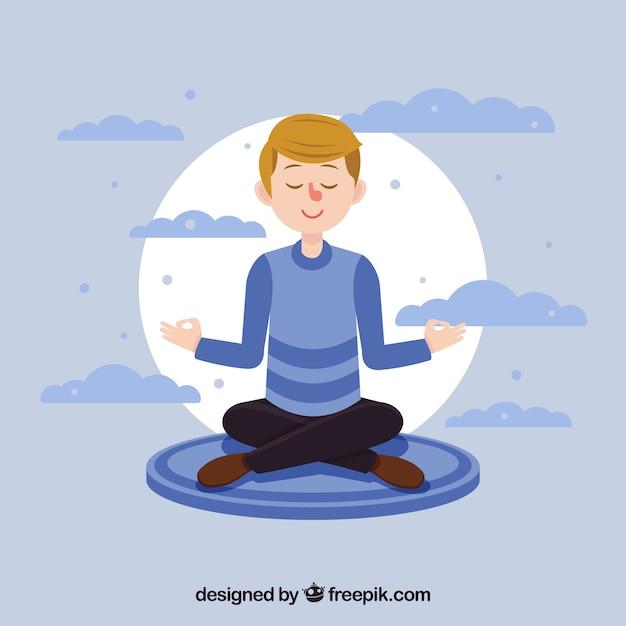 Meditatieconcept met vlak karakter Gratis Vector