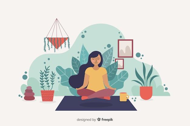 Meditatieconcept voor bestemmingspagina Gratis Vector