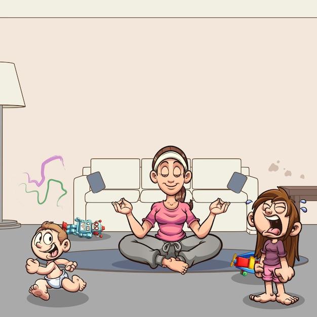 Mediteren moeder cartoon afbeelding Premium Vector