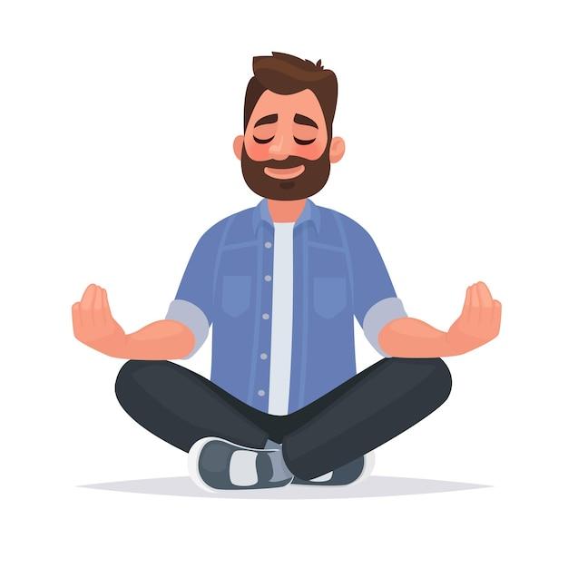 Mediterende man over geïsoleerd. blijf rustig. in cartoon-stijl Premium Vector