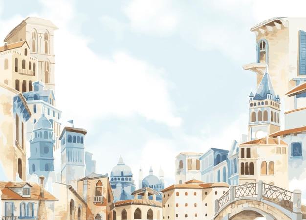 Mediterrane stad die de kleurstijl van het buitenwater bouwen Gratis Vector