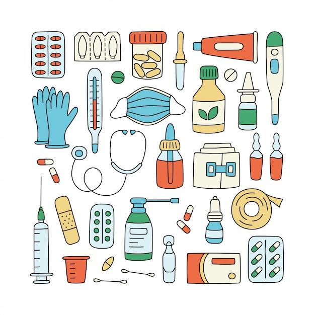 Meds, drugs, pillen, flessen en medische elementen van de gezondheidszorg. Premium Vector
