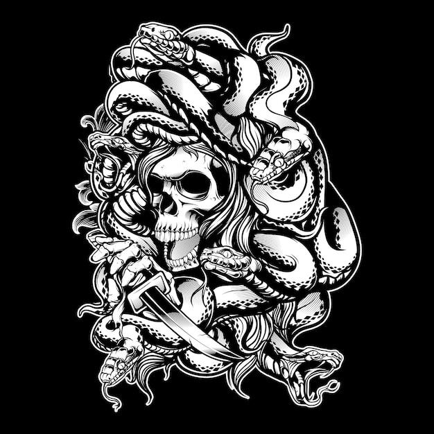 Medusa met slang hand tekenen Premium Vector