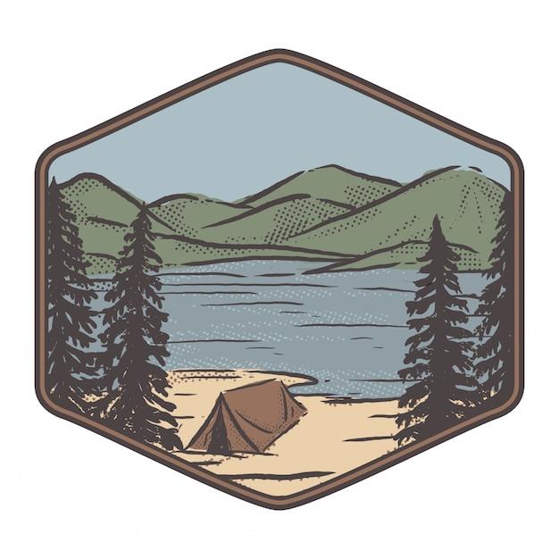 Meer, bergen en een tent Premium Vector
