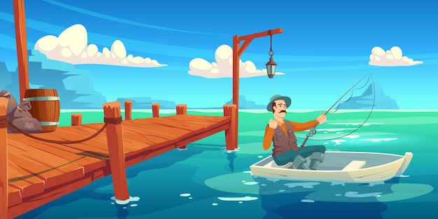 Meer met houten pier en visser in boot. cartoon illustratie van zomer landschap met rivier, zee baai of vijver, kade en man in hoed met hengel in boot Gratis Vector