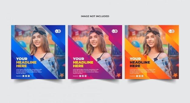 Meerdere kleuren instagram banner sjabloon set Premium Vector