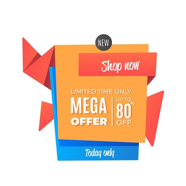 Mega biedt verkoop origami-stijl Gratis Vector