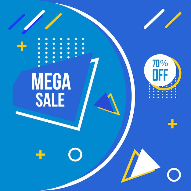 Mega sale memphis style achtergrond Premium Vector