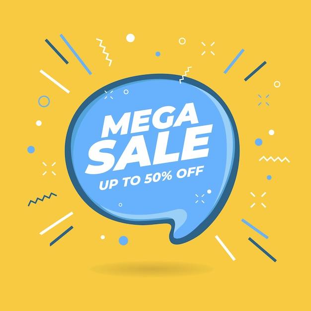 Mega sale-tekstballonvormige banners. Premium Vector
