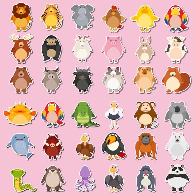 Mega stickerpakket voor dieren Gratis Vector