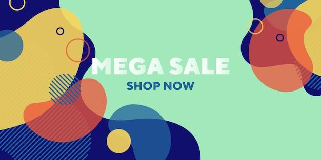 Mega verkoop abstracte banner met dynamische vormen Gratis Vector