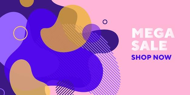 Mega verkoop abstracte banner met transparante vormen Gratis Vector