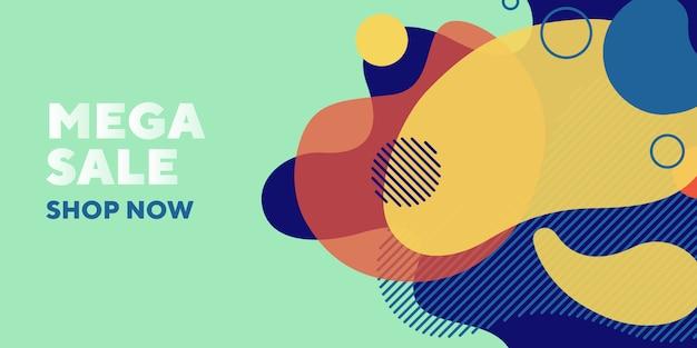 Mega verkoop abstracte banner met vloeibare elementen Gratis Vector