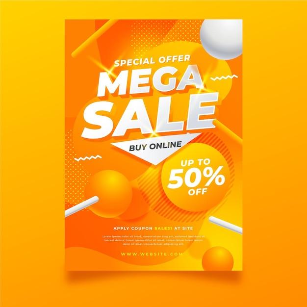 Mega verkoop poster sjabloon Gratis Vector
