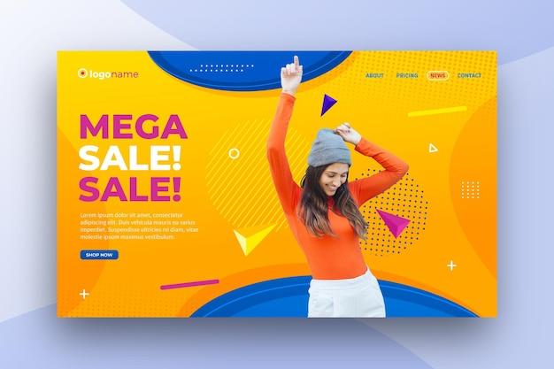 Mega verkoop sjabloon voor spandoek Premium Vector
