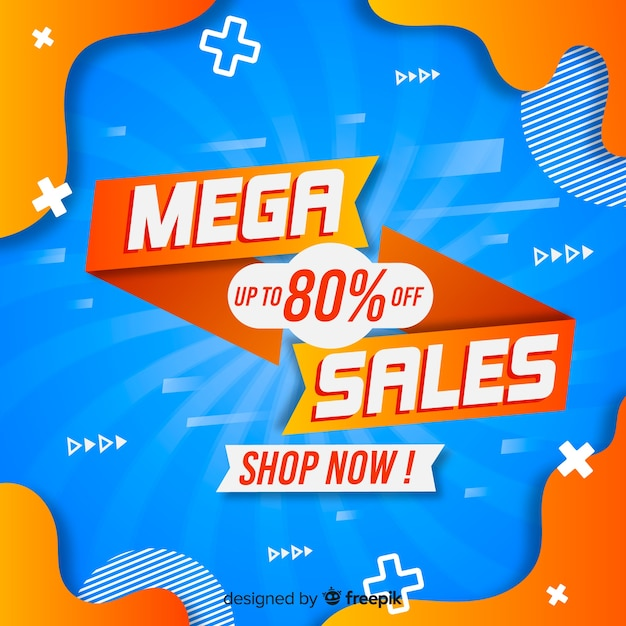 Mega-verkoopachtergrond met abstracte vormen Gratis Vector