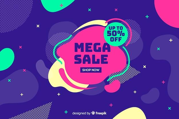 Mega verkoopachtergrond met abstracte vormen Gratis Vector