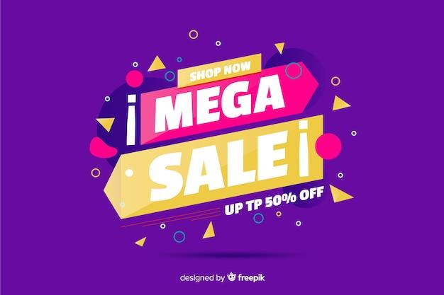 Mega verkoopachtergrond met de elementen van memphis Gratis Vector
