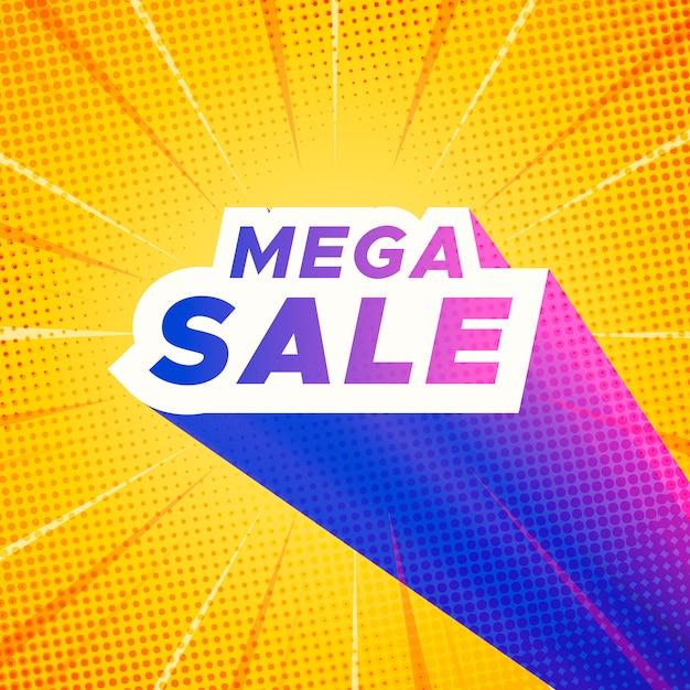 Mega-verkoopbanner met gele komische zoomachtergrond Gratis Vector