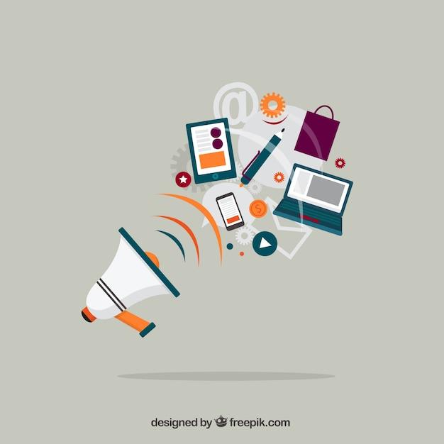 Megafoon en zakelijke apparatuur Gratis Vector