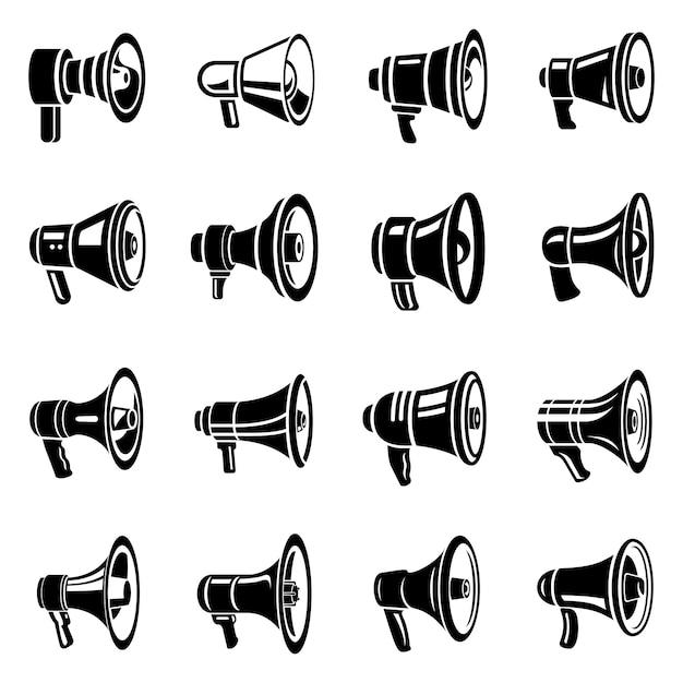 Megafoon luidspreker pictogrammen instellen. Premium Vector