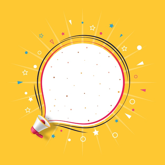 Megafoon met gele bubble spraaksjabloon Premium Vector