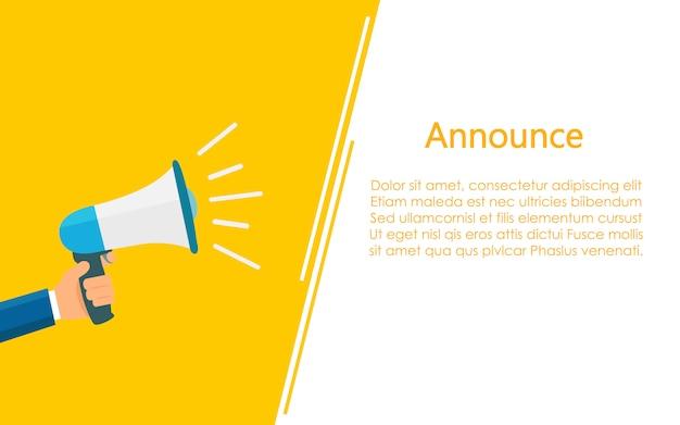 Megafoon voor communicatie en tekstruimtesjabloon Premium Vector