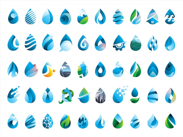 Megapack van 50 waterdruppels pictogram Premium Vector