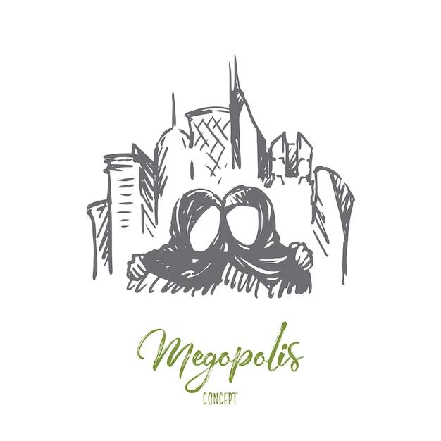 Megopolis illustratie in de hand getekend Premium Vector