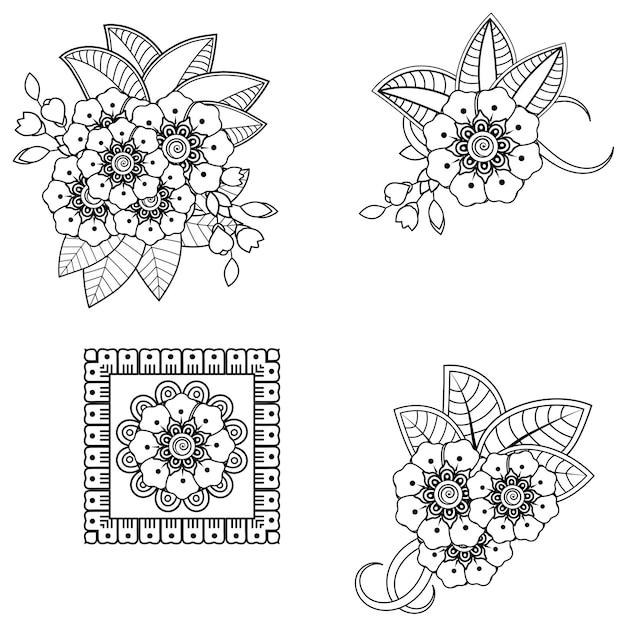 Mehndi-bloem voor henna. doodle sieraad. overzicht hand tekenen illustratie. Premium Vector