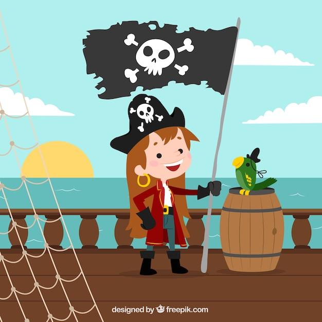 Meisje achtergrond met piraat vlag Gratis Vector