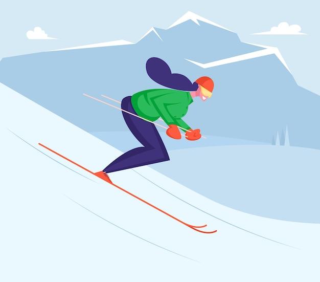 Meisje bergaf rijden door ski's met winterpret en vrije tijd Premium Vector