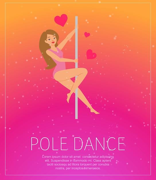 Meisje dat dichtbij poolaffiche danst, achtergrondinformatie, jonge meisjesshow, danskunst, illustratie. stripclub, sportfitness, mooi modellichaam, element moderne aerobics. Premium Vector