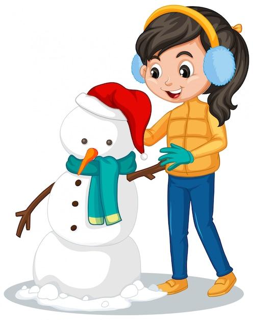 Meisje dat in de winterkleren sneeuwman maakt Premium Vector