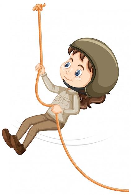 Meisje dat kabel op geïsoleerd beklimt Gratis Vector