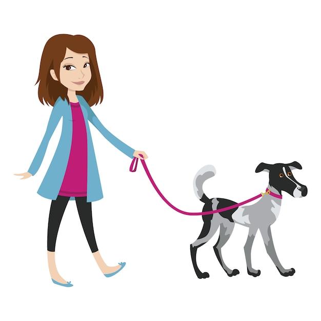 Meisje dat met een hond aan de leiband loopt. Premium Vector
