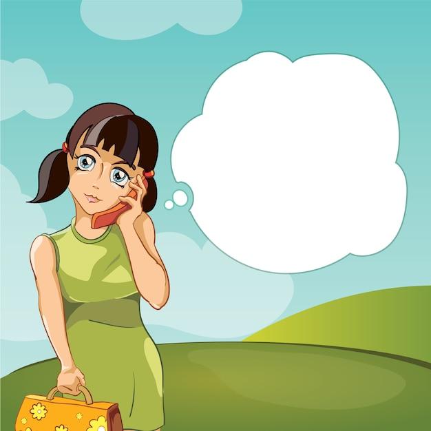 Meisje dat op telefoon spreekt Premium Vector